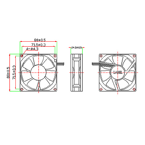 EVERCOOL 80mm (ROHS/S/3P/25T)(EC8025L12SA)